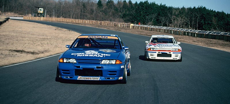 Two R32 Nissan GT-Rs testing in 1990. Photo Credit: Nissan