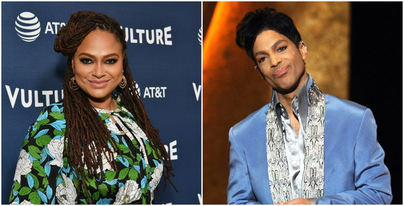(l) Ava DuVernay attends the Vulture Festival Presented By AT&T on May 20, 2018 in New York City; (r) Prince speaks onstage at the 42nd NAACP Image Awards on March 4, 2011 in Los Angeles, California.