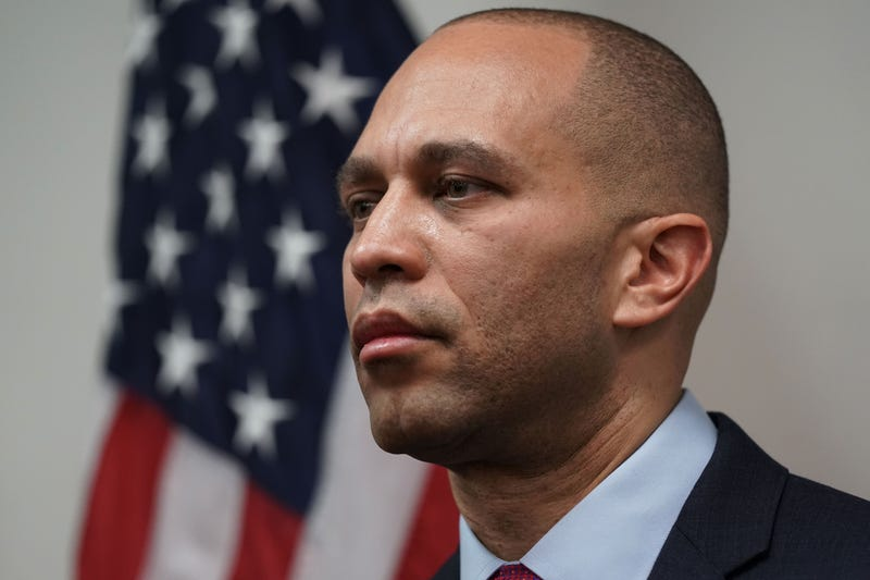 U.S. House Democratic Caucus Chairman Rep. Hakeem Jeffries (D-NY) listens during a news conference after a caucus meeting at the U.S. Capitol January 9, 2019 in Washington, DC.