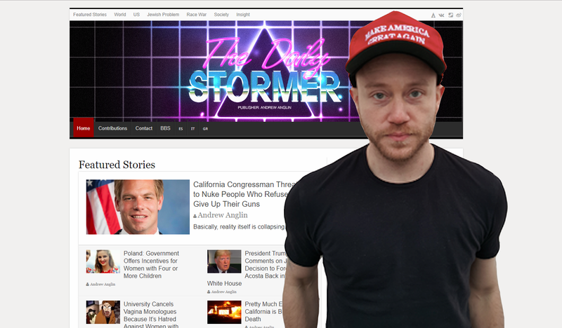 A screenshot of the Daily Stormer overlaid by its founder, Andrew Anglin.
