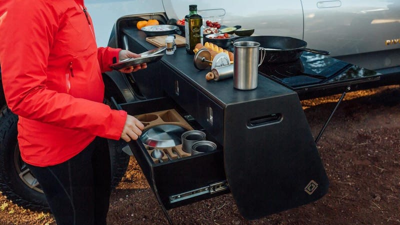 Illustration for article titled Rivian Put an Overlanding Kitchen in Its R1T and It Rules