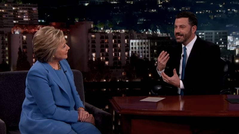 Illustration for article titled Jimmy Kimmel mansplains political campaigning to Hillary Clinton