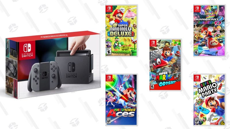 Nintendo Switch + Any Select Mario Game + Mario Pins | $330 | WalmartMario Kart 8 Deluxe [Digital] | $40 | WalmartNew Super Mario Bros U Deluxe [Digital] | $40 | Best BuySuper Mario Odyssey [Digital] | $40 | WalmartMario Tennis Aces [Digital] | $40 | Best BuySuper Mario Party [Digital] | $40 | Best Buy