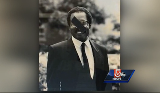 One of the portraits of Harvard Law School's black professors that was defacedWCVB screenshot