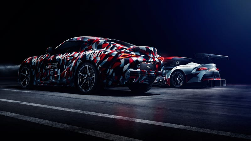 The GR Supra Racing Concept (back) and the development model of the 2019 Toyota Supra.