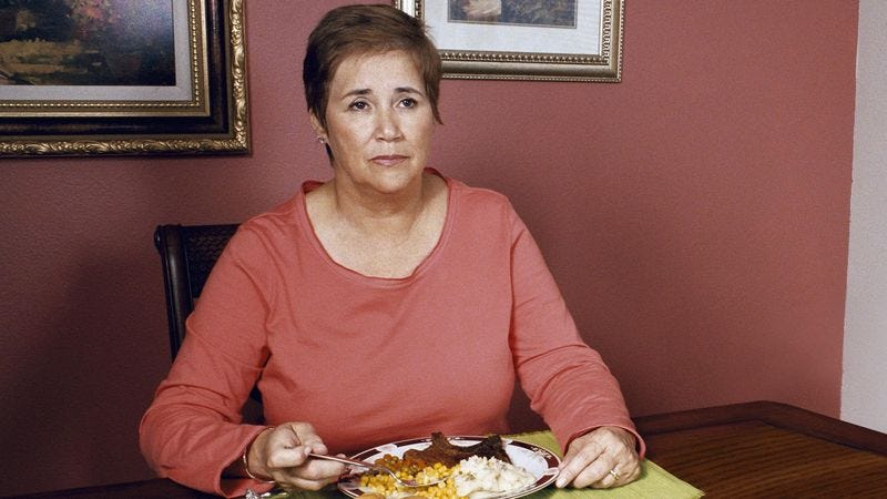 Illustration for article titled Mom Sits Down For Dinner 3 Months After Rest Of Family Finishes Meal