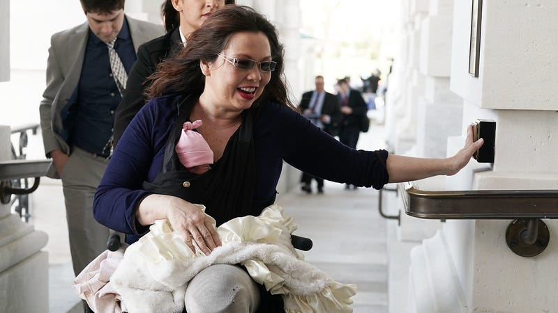 Illustration for article titled Tammy Duckworth Cast a Vote Today, Newborn at Her Side
