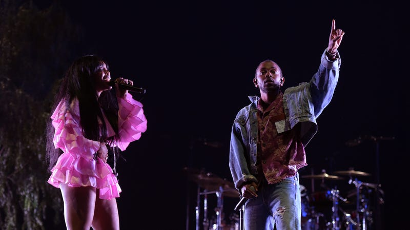 SZA and Kendrick Lamar perform onstage during the 2018 Coachella Valley Music And Arts Festival on April 13, 2018 in Indio, California.