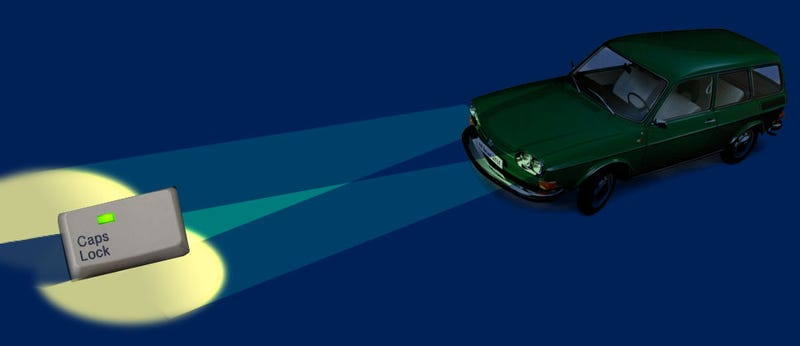 Illustration for article titled Quick Question: Is Driving Around With Your High-Beams On Like Typing With Caps Lock On?