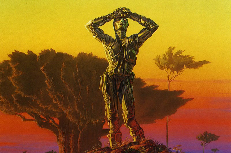 Isaac Asimov's Three Laws of Robotics won't be nearly enough to control AI. Robots of Dawn cover by Michael Whelan