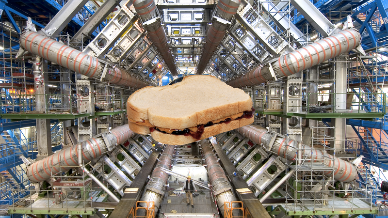 A sandwich edited onto an image of the LHC from 2008.