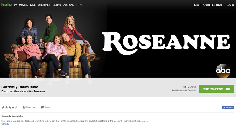 Illustration for article titled Hulu Scrambles to Pull All Reruns of RoseanneAfter Star's Racist Tweet