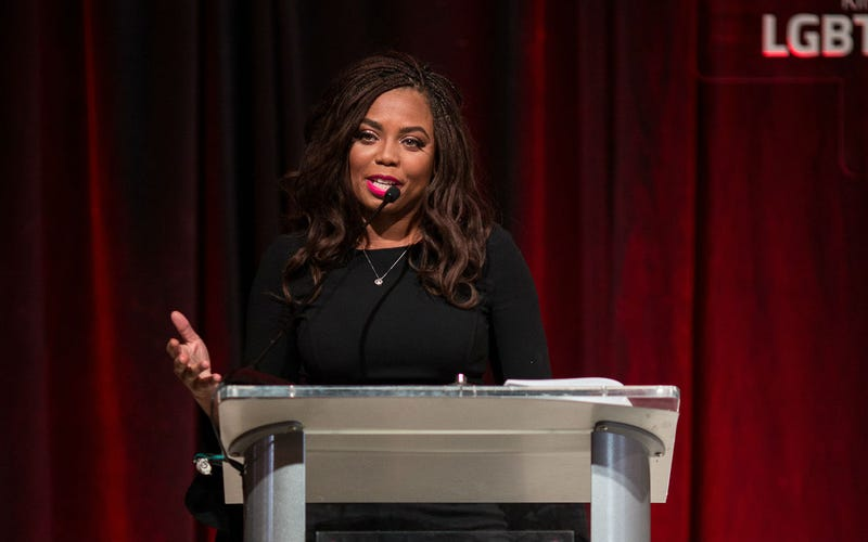 Jemele Hill speaking at the MOSAIC symposium in Atlanta on March 14, 2018