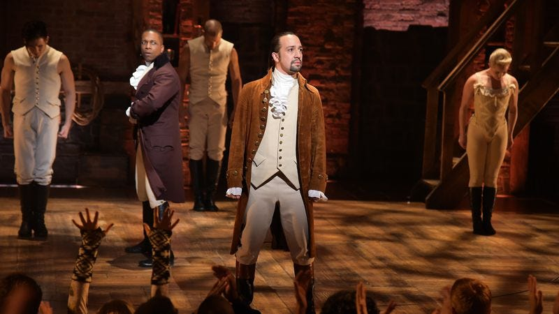 Lin-Manuel Miranda, performing at the Grammys with the cast of Hamilton. (Photo: Getty Images)