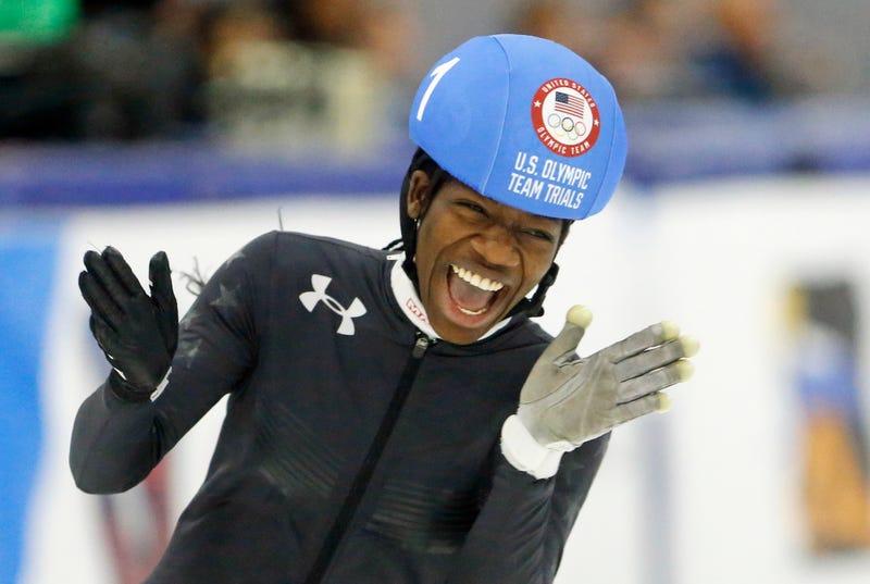 Maame Biney reacts after winning women's 500-meter during the U.S. Olympic short-track speedskating trials Dec. 16, 2017, in Kearns, Utah. (Rick Bowmer/AP Images)