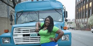 Tanya Fields of the BLK Projek with the bus that will bring healthy food to the South Bronx (theblkprojek.org)