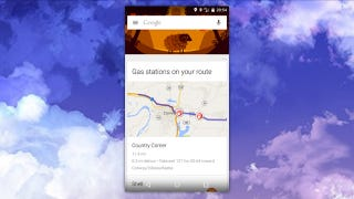 Illustration for article titled Google Now Adds Gas Stations On Your Route Cards