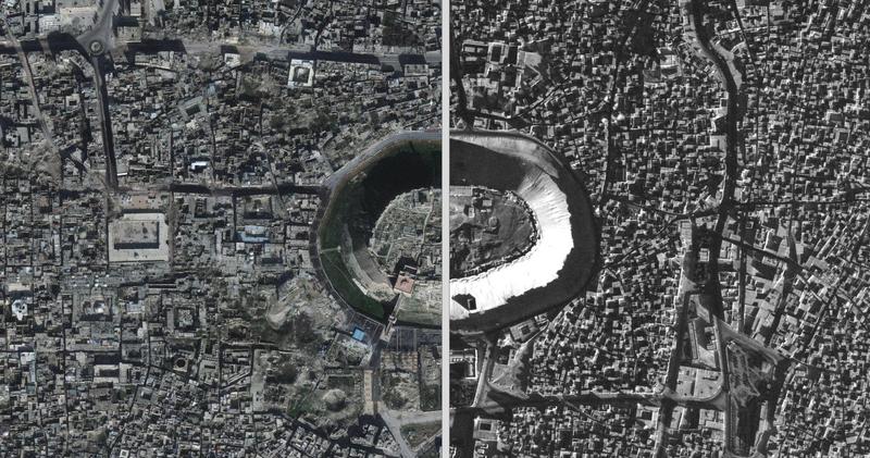 Toma aérea de Alepo (siria), en 1959 y hoy.