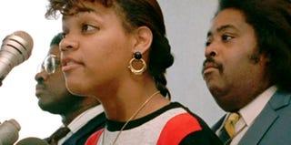 Screenshot of Twana Brawley with the Rev. Al Sharpton (YouTube)
