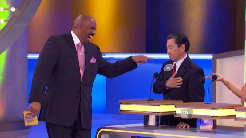 Without the banter, an entire episode of Family Feud takes a tight three minutes