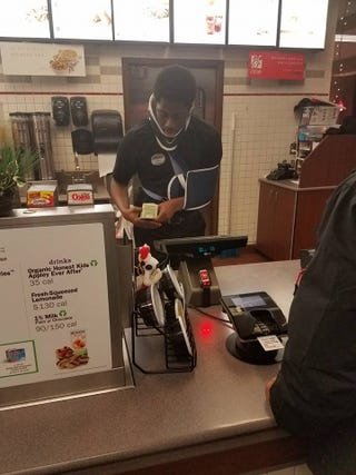 Chik-fil-A customer Cameron Nelson snapped this photo of Jakeem Tyler working the counter at the fast-food chain in Avon, Ind., despite his injuries from a recent car accident.Facebook