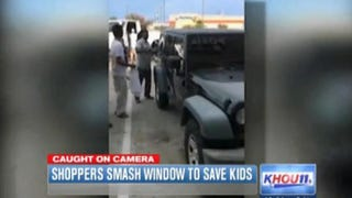 Shoppers smash window of Jeep to save two kids trapped inside on a hot day in Katy, Texas.KHOU-TV Screenshot
