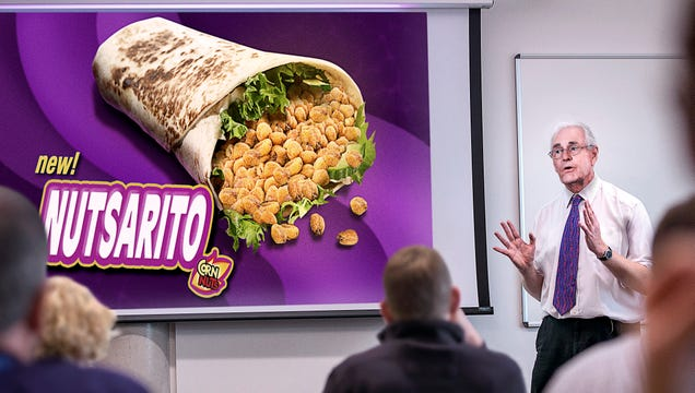 Sweating CornNuts VP Stammers Way Through Pitch For 'Nutsarito' At Taco Bell