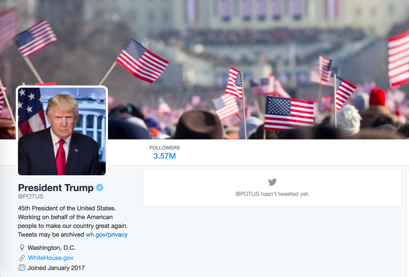 Illustration for article titled Donald Trump Is @POTUS, But His Cover Photo Is From Obama's Inauguration [Updated]