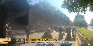 NYC police are weighing charges regarding a confrontation between a group of motorcyclists and an SUV. (CBS screenshot)