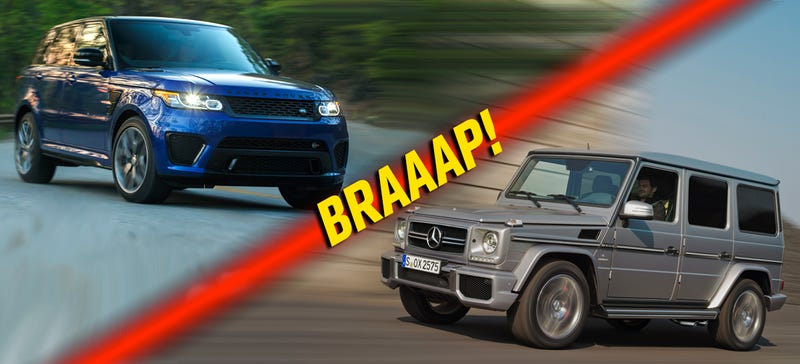 Illustration for article titled Range Rover Sport SVR Vs Mercedes G-Wagen AMG: The Next Extreme Rivalry