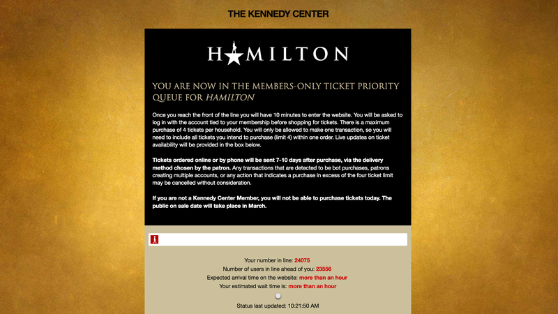 """Illustration for article titled Oh hey there don't mind me, I'm waiting """"in line"""" online for Hamilton tickets at the Kennedy Center for my parents who are on a cruise right now"""
