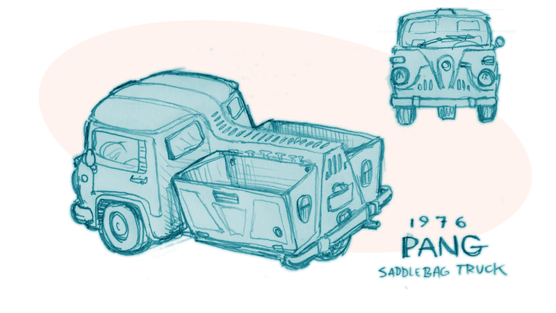 Illustration for article titled An Imaginary Car From An Imaginary Country: 1976 PANG Saddlebag Truck