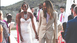 WNBA star Brittney Griner (right) wed fellow player Glory Johnson May 10, 2015, nearly three weeks after both were arrested amid allegations of assault.PEOPLE MAGAZINE VIA TWITTER