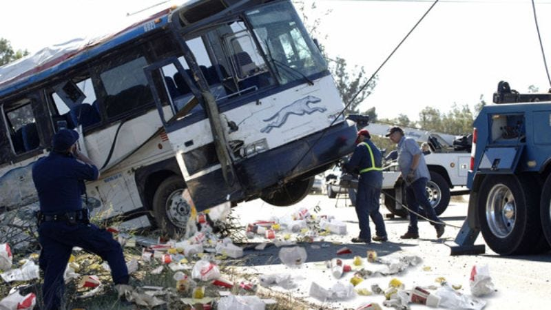 Rescue workers were visibly sickened by the number of hamburger wrappers and soda bottles strewn about the bus.