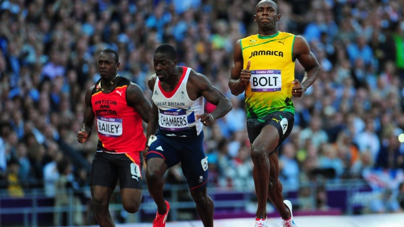 Illustration for article titled Usain Bolt Nearly Walks Across Finish Line Of 100m Semifinal, Wins It At 9.87 Anyway