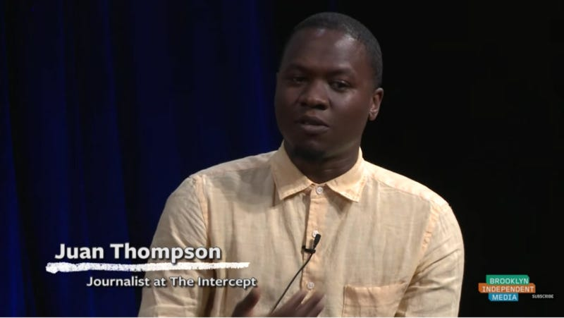Thompson during a 2015 speaking event. Screenshot via Brooklyn Independent Media/YouTube