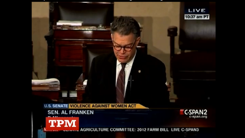 Illustration for article titled Sen. Al Franken Cries While Discussing Violence Against Women Act