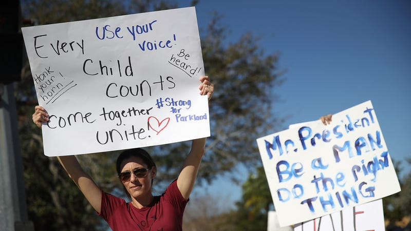 Protestors gather at the Broward County courthouse on February 17. Image: Getty