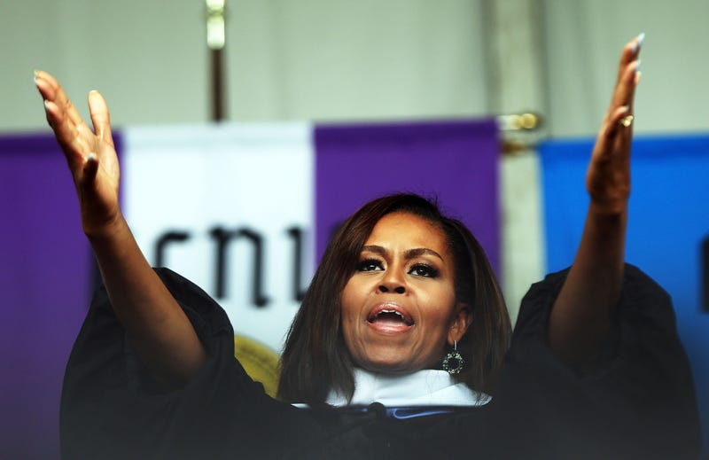 First lady Michelle Obama delivers the commencement speech at the City College of New York on June 3, 2016, in New York City.Spencer Platt/Getty Images