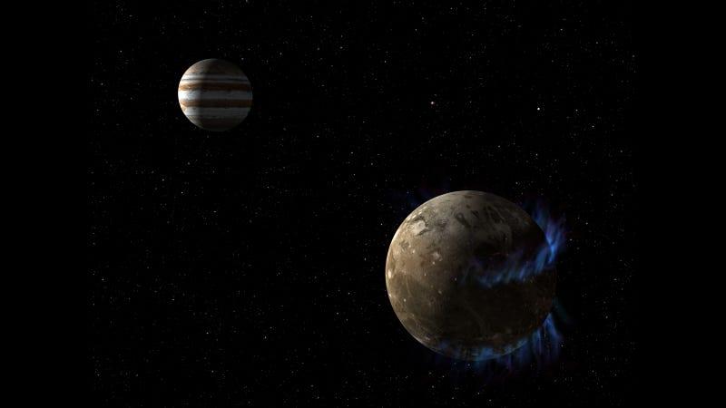 Artist concept of Ganymede and Jupiter