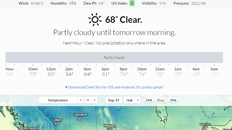 Illustration for article titled Dark Sky, the Up-to-the-Minute Weather App, Now Works In Your Browser