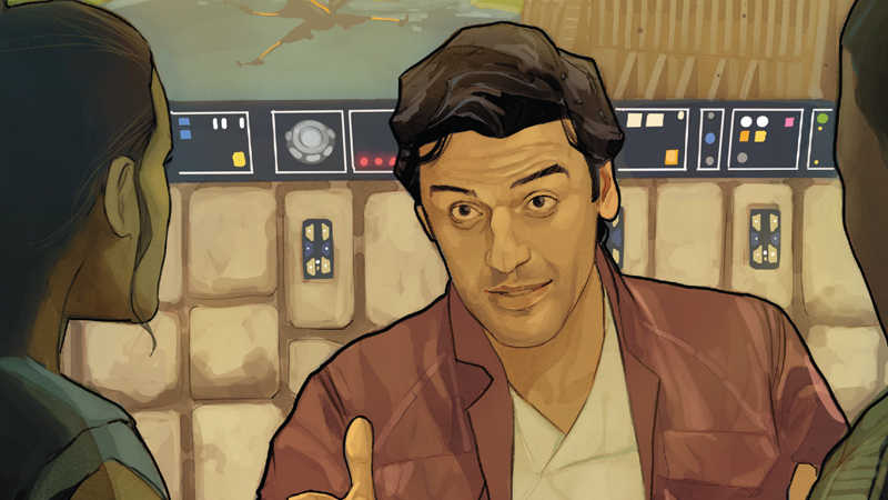 Poe weaves a tale on the cover of Poe Dameron #27.