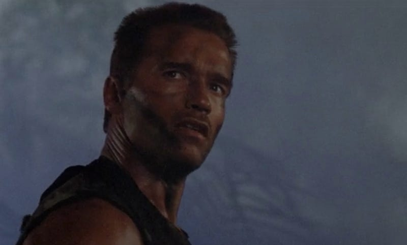 """If it bleeds, we can kill it."" Arnold Schwarzenegger as the quotable Dutch in the original film."