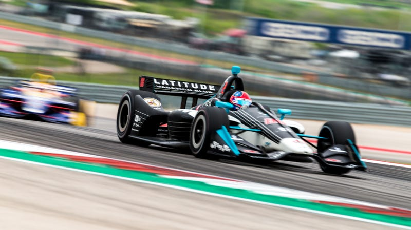 IndyCar race winner Colton Herta on track at Circuit of The Americas.