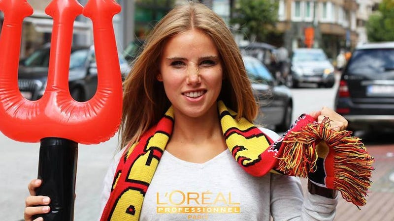 Illustration for article titled ​Belgian Fan Goes to World Cup Match, Lands L'Oréal Modeling Contract