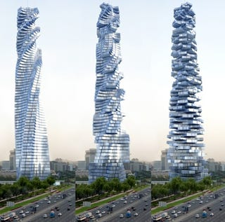 Illustration for article titled Dynamic Tower Skyscraper: Every Floor Self-Rotates, Powered by Wind and Sun