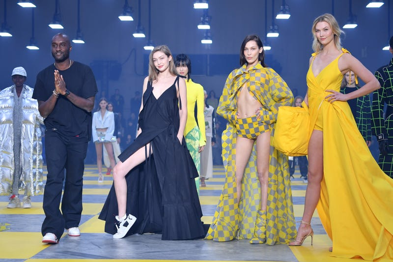 Designer Virgil Abloh, Gigi Hadid, Bella Hadid and Karlie Kloss during the finale of the Off-White show as part of the Paris Fashion Week Womenswear Fall/Winter 2019/2020 on February 28, 2019 in Paris, France.
