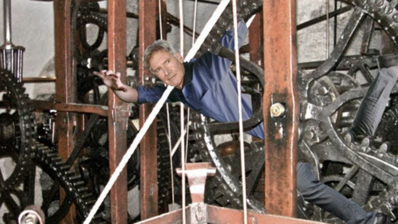 Illustration for article titled Lucky To Be Alive: Harrison Ford Had To Be Rescued This Morning After Getting Stuck Inside The Gears Of Big Ben