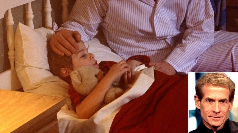 5-year-old Caleb lays in bed as his parents comfort him.