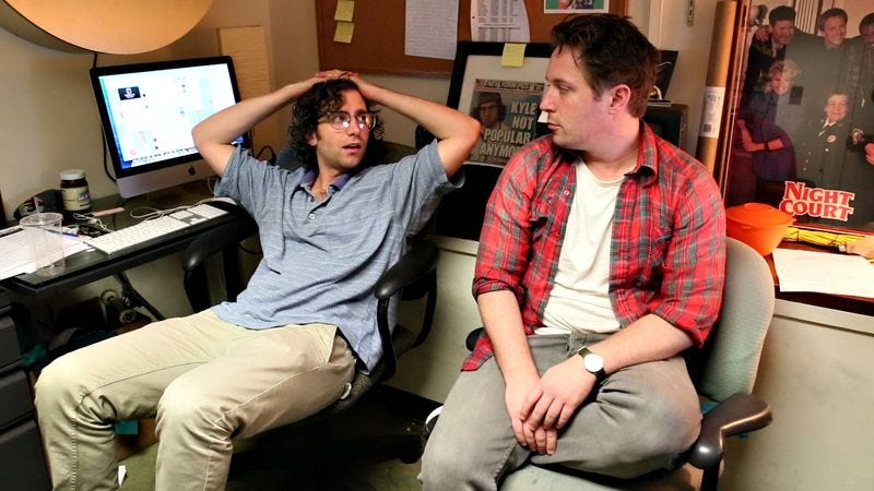 Kyle Mooney and Beck Bennett backstage at Saturday Night Live